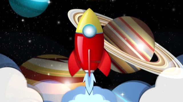 vídeos y material grabado en eventos de stock de bucle de animación de cohete volando a través del sistema solar - cohete espacial