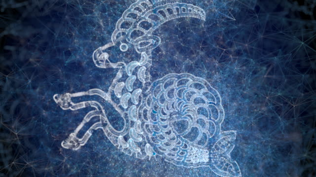 a looping animation of the horoscope star sign capricorn - astrology stock videos & royalty-free footage