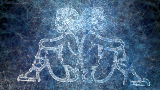 a looping animation of the horoscope star sign gemini - twin stock videos & royalty-free footage