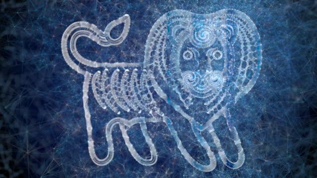 eine looping-animation des horoskops stern zeichen leo - mythologie stock-videos und b-roll-filmmaterial