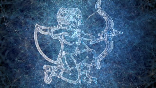 a looping animation of the horoscope star sign sagittarius - astrology stock videos & royalty-free footage