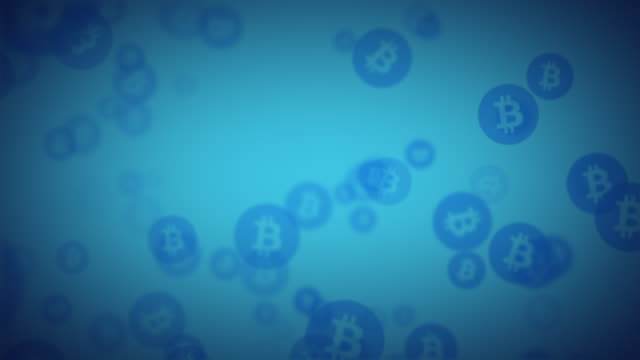 looping blue bitcoin animated background graphic - network security stock videos & royalty-free footage