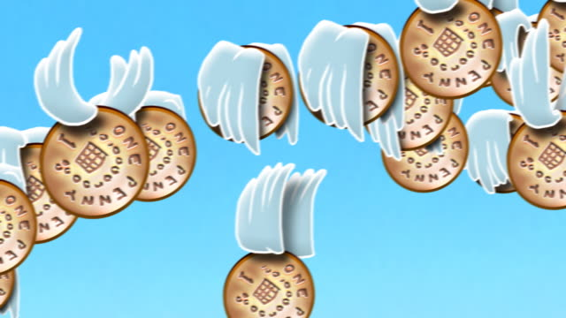 Looping cartoon british pennies fly past with wings