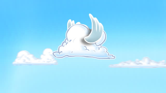 Looping cartoon cloud with flapping bird wings