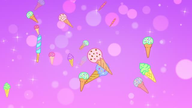 vídeos y material grabado en eventos de stock de looping cartoon ice cream bokeh background - ilustración