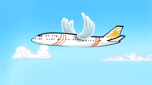 looping cartoon plane with flapping bird wings - aircraft wing stock videos & royalty-free footage