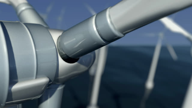 4K Looping Close-Up of Wind Turbines at Sea #4