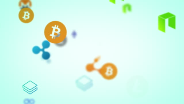 looping cryptocurrencies animating on pale green background - blockchain stock videos & royalty-free footage
