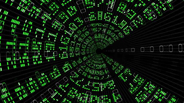 Looping Digital Data Tunnel of Numbers