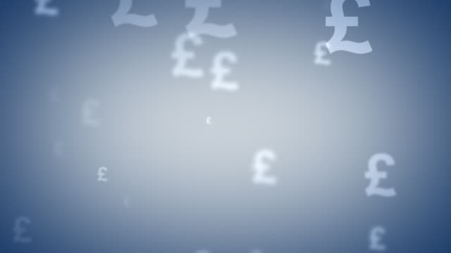 looping gray great british sterling and euro currency symbols - pound sterling symbol stock videos & royalty-free footage