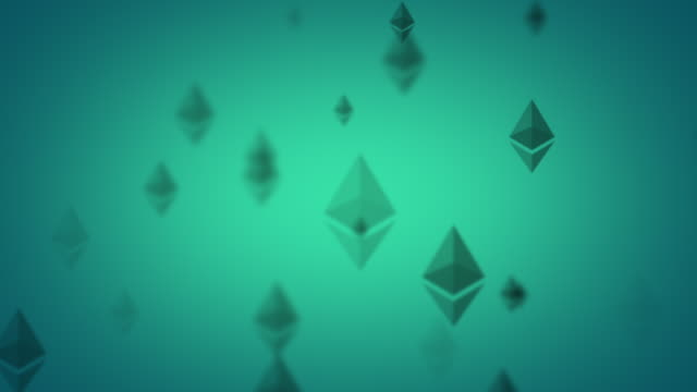 looping green ethereum animated graphic - cryptocurrency stock videos & royalty-free footage