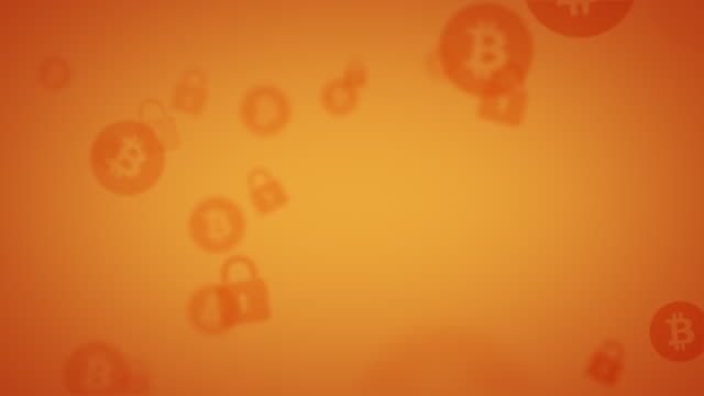 looping orange bitcoin security background animation - network security stock videos & royalty-free footage