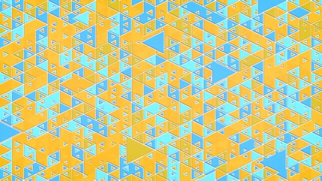 vídeos de stock, filmes e b-roll de o teste padrão de looping do movimento rápido coloriu formas triangulares. molde moderno da apresentação. projeto abstrato colorido da animação. rendição 3d. resolução 4k, ultra hd. - triângulo formato bidimensional