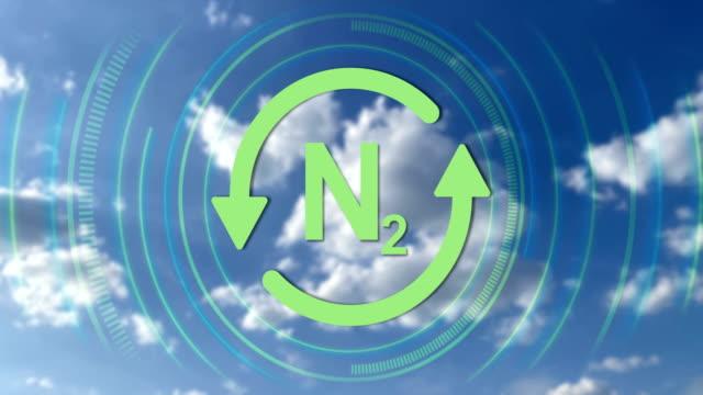 icona di riciclo ad anello e formula chimica di azoto atmosferico, video 4k - design element video stock e b–roll