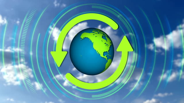 looping recycle icon and rotating globe, 4k video - environmental conservation stock videos & royalty-free footage