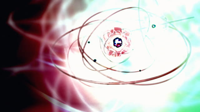 looping theme of quantum physics, atoms, molecule structure, sub molecule, electrons, protons, neutrons, and chemistry - chemistry点の映像素材/bロール