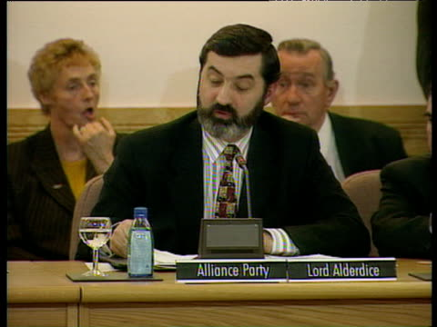 lord alderdice alliance party leader makes closing statement as negotiations successfully conclude on good friday agreement - ストーモント点の映像素材/bロール
