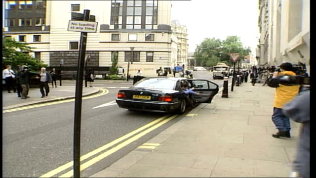 jury retires court arrivals itn england london ext gvs people along at court / lord archer's car along past and lord archer's sons william and james... - personal land vehicle stock videos & royalty-free footage