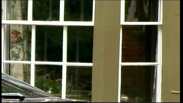 shots of home in grantchester itn england cambridgeshire granchester up window at the old vicarage / gvs house / gv press waiting outside house gates... - bay window stock videos & royalty-free footage