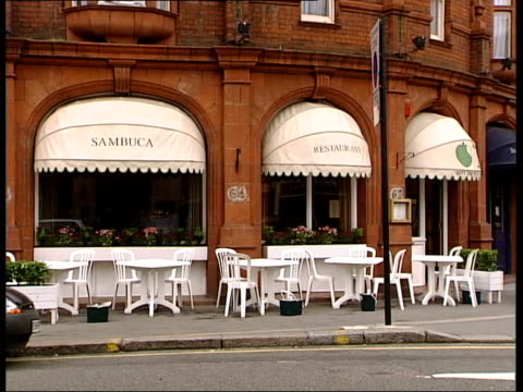 Mary Archer gives evidence LIB Sloane Square GV Sambuca Restaurant MS Sambuca on awning