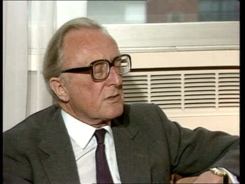 stockvideo's en b-roll-footage met lord carrington interview on us relations england london itn boardroom intvw sof quoti've heard that be overdoing itquot video ex eng tx'd 91283/c4n... - peter carington