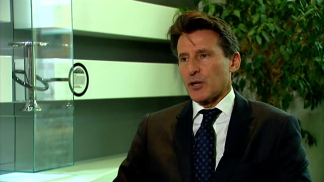 vídeos y material grabado en eventos de stock de lord coe bids to become president of the iaaf; int lord coe interview sot - on track at crystal palace stadium coe holding manifesto as poses for... - new age