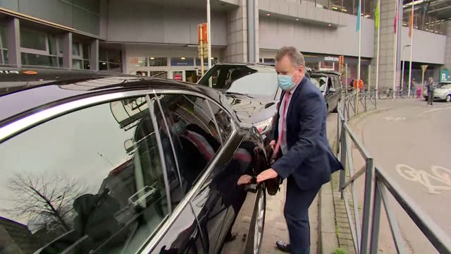 """lord david frost, uk chief brexit negotiator, arriving in brussels for post brexit trade deal talks with the eu - """"bbc news"""" stock videos & royalty-free footage"""