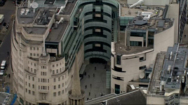 lord hall sets out his plans for the bbc; lib ext air view / aerial of bbc new broadcasting house - bbc stock videos & royalty-free footage