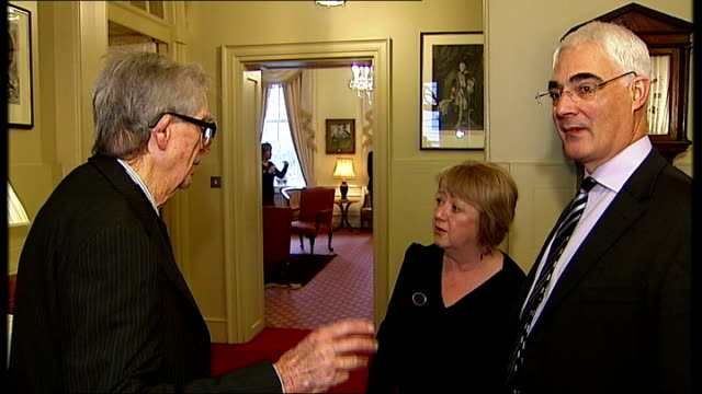 int lord healey interview sot discusses imf and 1976 sterling crisis ext lord healey 'blowing kiss' to policewoman on duty in downing street lord... - 雑誌点の映像素材/bロール