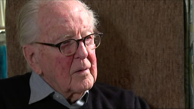 lord hutchinson interview as his 100th birthday approaches; england: int lord hutchinson, qc interview sot - on his family motto 'moderation'... - channel 4 news stock videos & royalty-free footage