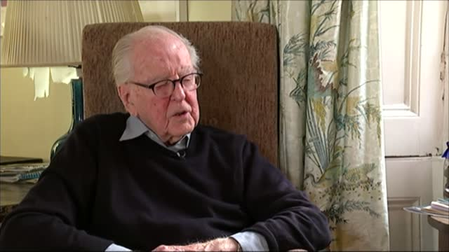 lord hutchinson interview as his 100th birthday approaches; hutchinson interview sot - on his navy uniform / campaigning for labour in 1945 election - channel 4 news stock videos & royalty-free footage