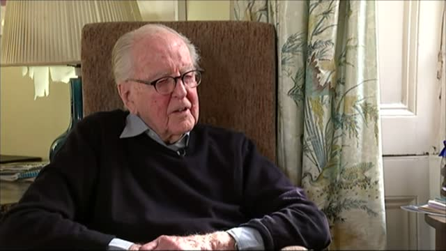 lord hutchinson interview as his 100th birthday approaches; hutchinson interview sot - on aldous huxley - channel 4 news stock videos & royalty-free footage