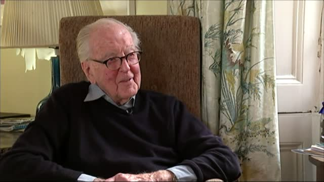 lord hutchinson interview as his 100th birthday approaches; hutchinson interview sot - on meeting wife peggy ashcroft - channel 4 news stock videos & royalty-free footage
