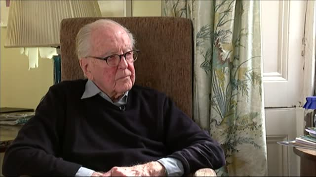lord hutchinson interview as his 100th birthday approaches; hutchinson interview sot - channel 4 news stock videos & royalty-free footage
