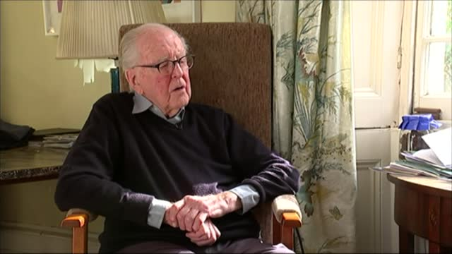 lord hutchinson interview as his 100th birthday approaches; hutchinson interview sot - on the class system / reaching 100 years old / importance of... - channel 4 news stock videos & royalty-free footage