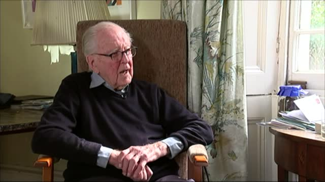 lord hutchinson interview as his 100th birthday approaches; int hutchinson interview sot - channel 4 news stock videos & royalty-free footage