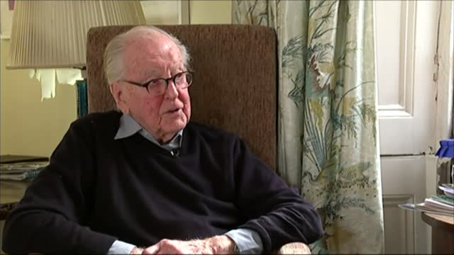 lord hutchinson interview as his 100th birthday approaches; int hutchinson interview sot - on defending d. h. lawrence in court - channel 4 news stock videos & royalty-free footage