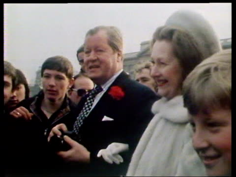 Lord John Spencer 8th Earl Spencer father of Diana Spencer his wife Raine Countess Spencer and his son Charles Spencer outside Buckingham Palace...