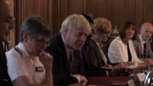 stockvideo's en b-roll-footage met lord justice leveson with dame vera baird victims' commissioner solicitor general micheal ellis and metropolitan police commissioner cressida dick... - probatie