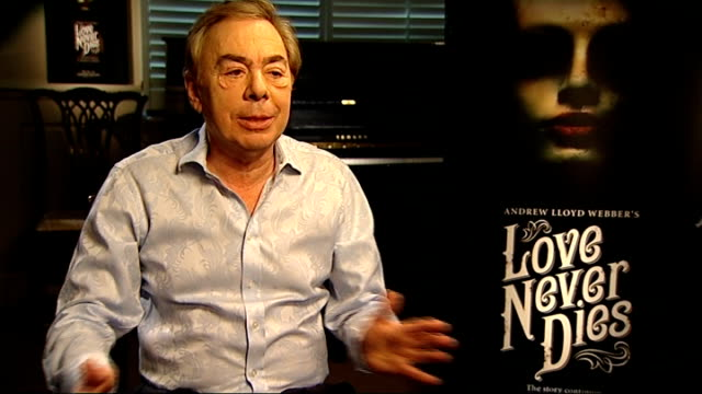 int lord lloydwebber interview sot reporter to camera int sir terry wogan interview sot sir michael caine interview sot ext fans leaving theatre vox... - terry wogan video stock e b–roll