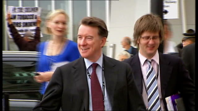 ext lord mandelson along and towards up street smiling lord mandelson responding to question from cathy newman sot what was i supposed to have said... - cathy newman stock-videos und b-roll-filmmaterial
