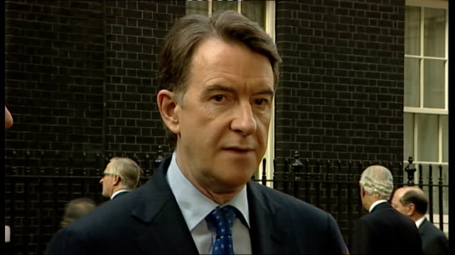 lord mandelson and martin broughton statements following g20 business leaders meeting lord mandelson answering press questions sot small and medium... - interlocked stock videos & royalty-free footage