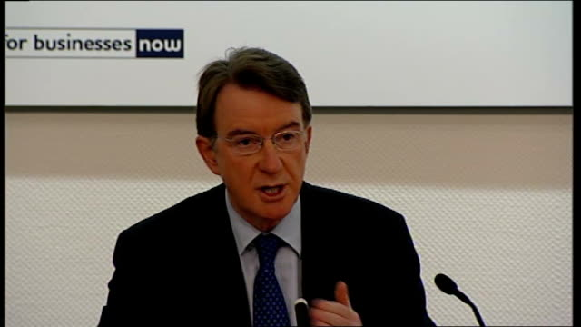Lord Mandelson Ian Pearson and Shriti Vadera press conference Lord Mandelson press conference SOT Crisis in the global economy is a credit crisis /...