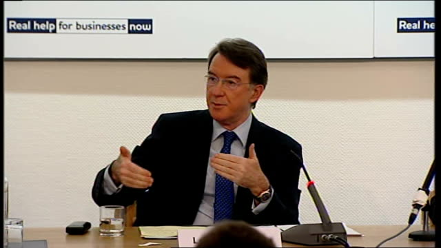 lord mandelson, ian pearson and shriti vadera press conference; lord mandelson answers question on how long before scheme goes live and the length of... - length stock videos & royalty-free footage