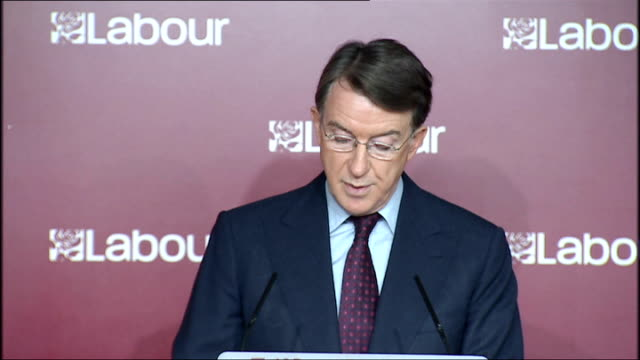 Lord Mandelson Liam Byrne and Yvette Cooper press conference on Conservative public spending plans Lord Mandelson speech SOT In the coming financial...