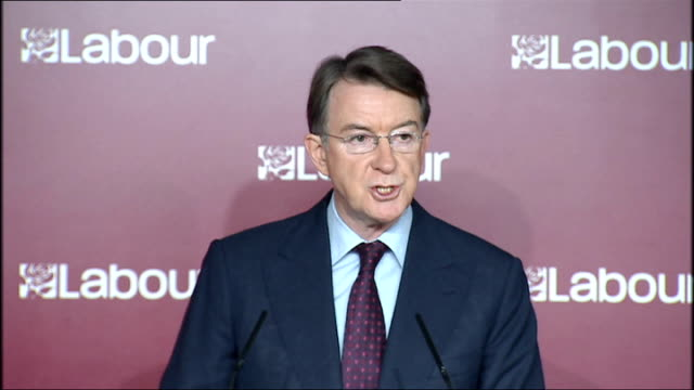 lord mandelson liam byrne and yvette cooper press conference on conservative public spending plans england london labour party hq int lord mandelson... - bumpy stock videos & royalty-free footage
