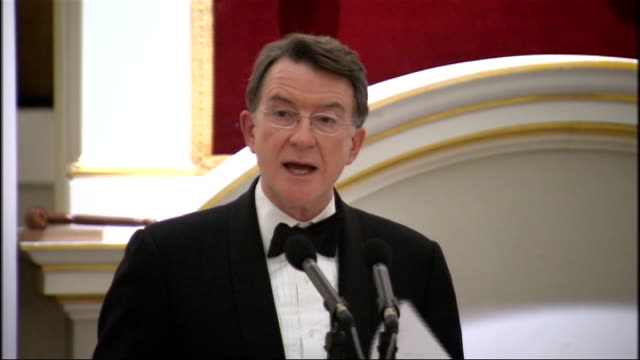lord mandelson mansion house speech lord mandelson speech sot according to the imf in 2010 public debt as a proportion of gdp is forecast to be... - big tech stock videos & royalty-free footage