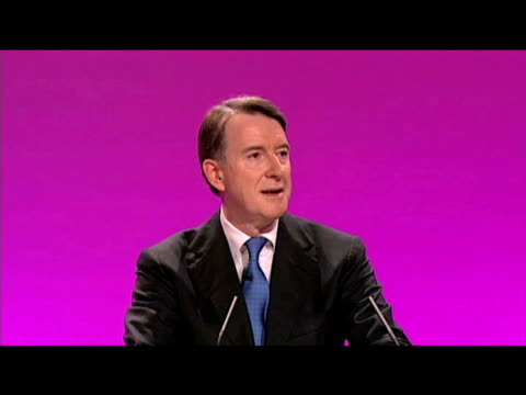 vídeos de stock e filmes b-roll de lord mandelson secretary of state for business passionately addresses delegates at labour party's annual conference following his return to public... - conferência partidária