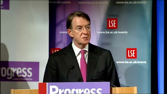 stockvideo's en b-roll-footage met lord mandelson speech at the london school of economics; lord mandelson speech continues sot - when, before 1997, labour moved to the centre we were... - home economics