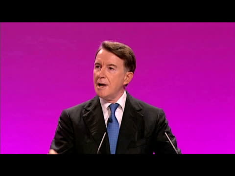 vídeos de stock e filmes b-roll de lord mandelson tells delegates that labour has made right policy choices to improve economy against tory advice during annual party conference... - conferência partidária